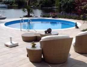 Staal inbouw zwembad rond
