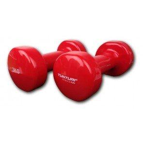 Tunturi vinyl dumbbell 2 x 3 kilo rood
