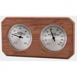 Sauna Thermo-Hygrometer, rechthoekig (Ceder)