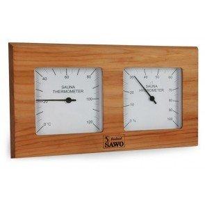 Sauna Thermo/ Hygrometer, rechthoek Thermisch Behandeld