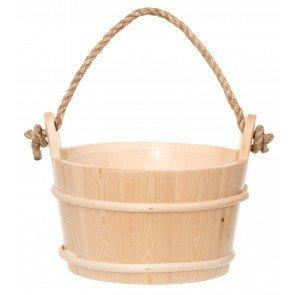4Living houten sauna emmer (4 liter) met touw handvat – Sparrenhout