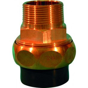 """PVC-brons 3/3 koppeling 50 mm (lijmverbinding) x 1,5"""" buitendraad"""