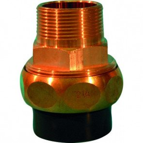 """PVC-brons 3/3 koppeling 50 mm (lijmverbinding) x 2"""" buitendraad"""