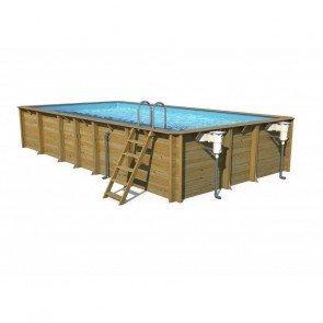 Cerland houten zwembad Odyssea Rectangle 8x4 Liner blauw