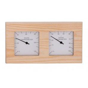 Sauna thermo-hygrometer 2-delig vierkant - Pine