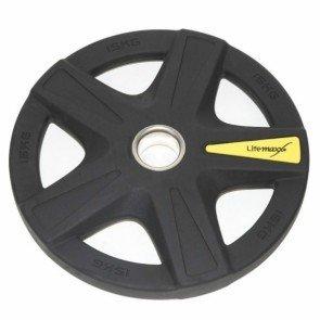 LifeMaxx LMX92 50 mm olympische halterschijf rubber 5-grip - 15 kg