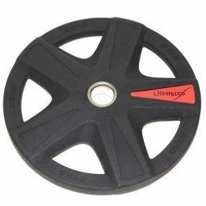 LifeMaxx LMX92 50 mm olympische halterschijf rubber 5-grip - 25 kg