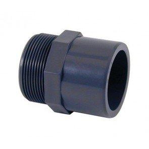 "PVC puntstuk 63/50 mm (lijmverbinding) x 2"" buitendraad"