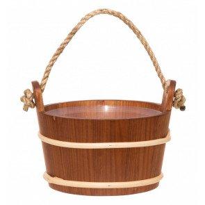 4Living houten sauna emmer (4 liter) met touw handvat - Alder hout