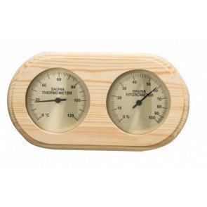 Sauna thermo-hygrometer rechthoekig afgerond - Pine