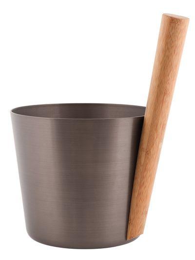 Afbeelding van Rento sauna emmer 5L Aluminium Donker bruin staafgreep