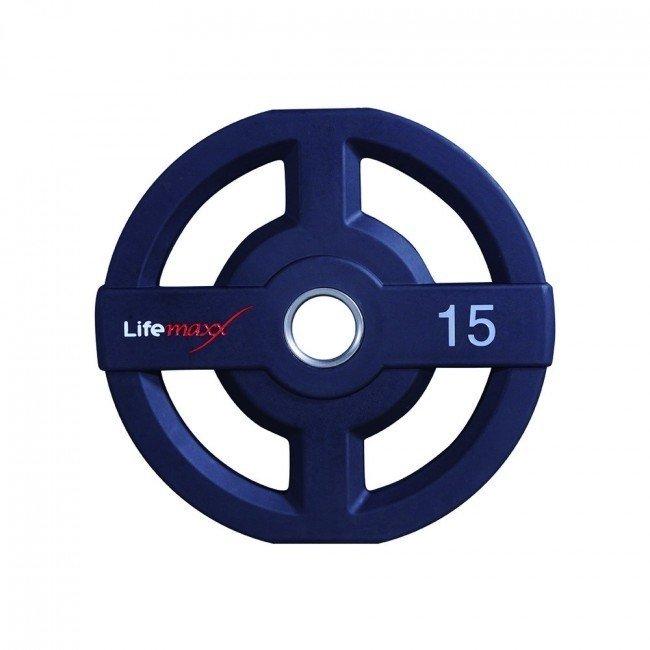 Afbeelding van Lifemaxx LMX73 50 mm olympische halterschijf PU - 15 kg