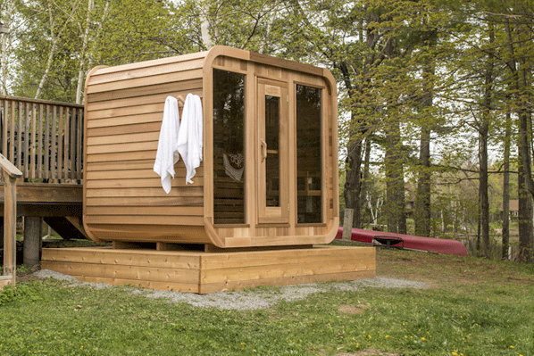 Afbeelding van Dundalk Sauna Red Cedar Knotty Luna 244 x 244 cm